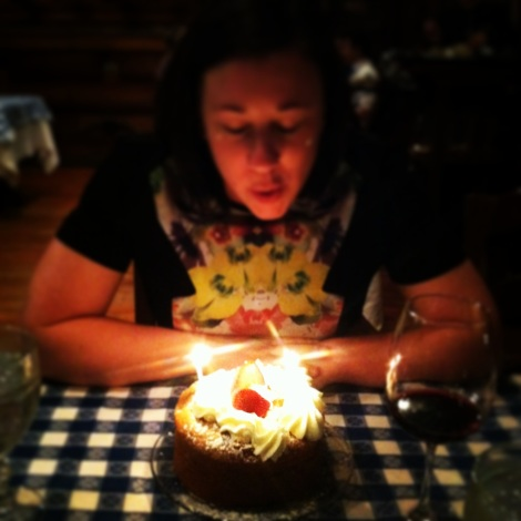 Blowing out my candles at The Angus Barn in Raleigh.