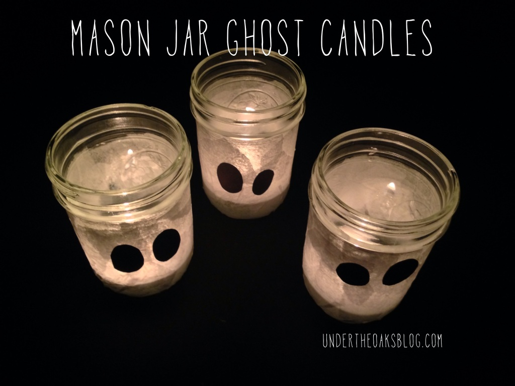 Mason Jar Ghost Candles on Under the Oaks blog: Easy Halloween DIYs