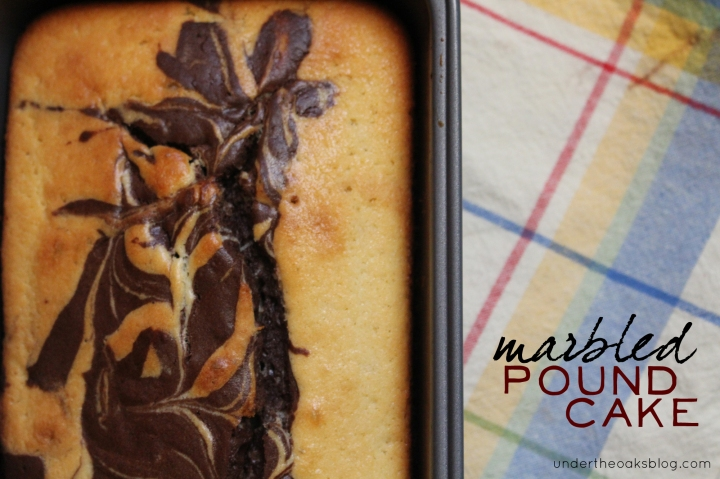Under the Oaks blog: Marbled Pound Cake #recipe