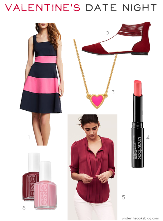 Under the Oaks blog: Valentine's Date Night Faves #fashion #beauty #jewelry #KateSpade #JCrew #Forever21 #Smashbox #Essie #LOFT
