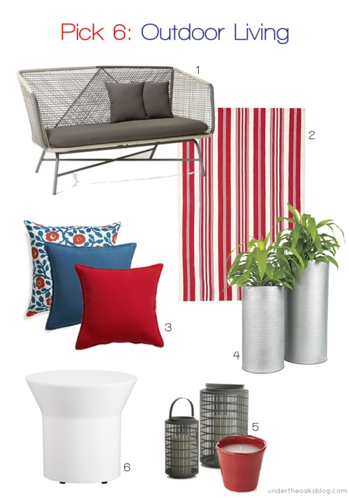 Under the Oaks blog: Pick 6: Outdoor Living #deckfurniture #patiofurniture #outsidefurniture #WestElm #PotteryBarn #CrateandBarrel #CB2