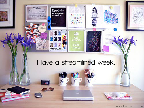Under the Oaks blog: Have a streamlined week.