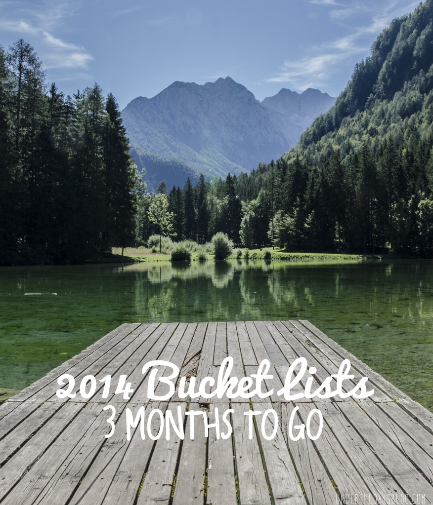 Under the Oaks blog: 2014 Bucket Lists: 3 Months To Go