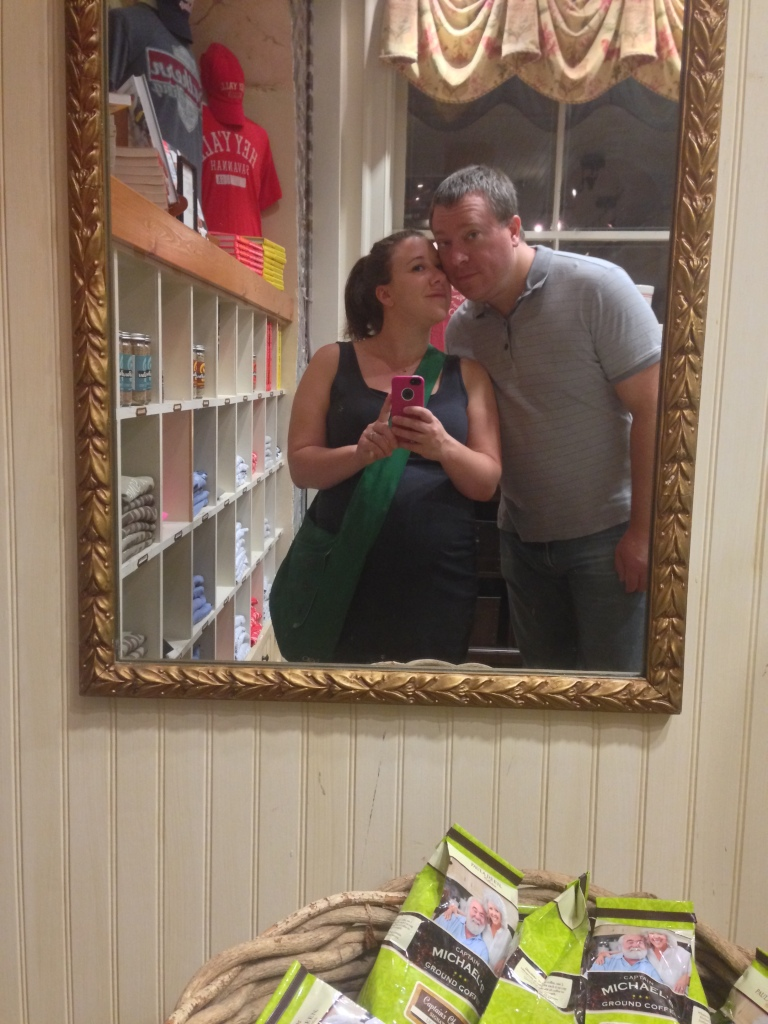 Goofing off after our anniversary dinner while checking out The Paula Deen Store.