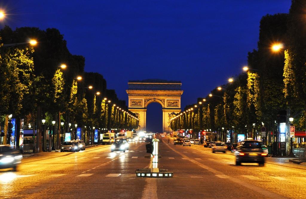 The Champs-Elysées at night, Paris, France